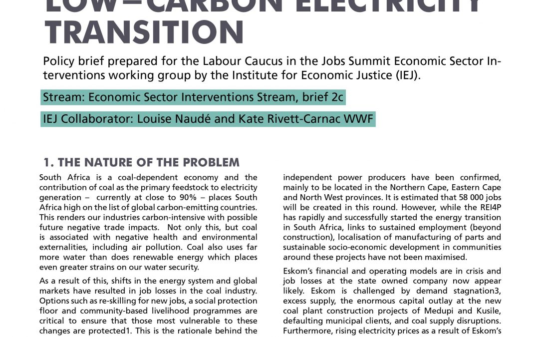Stream 1 Policy Brief 2c: Low-Carbon Electricity Transition