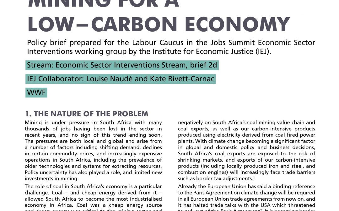 Stream 1 Policy Brief 2d: Mining for a Low-Carbon Economy