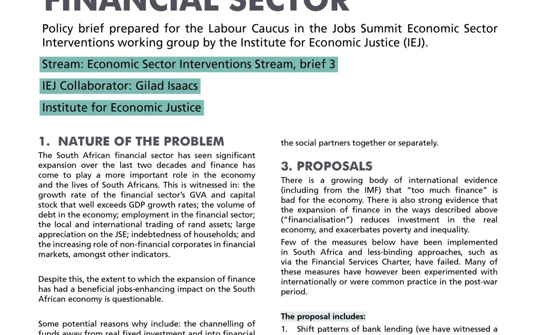 Stream 1 Policy Brief 3: Financial Sector