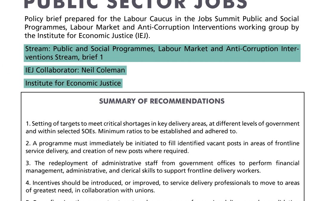Stream 4 Policy Brief 1: Public Sector Jobs