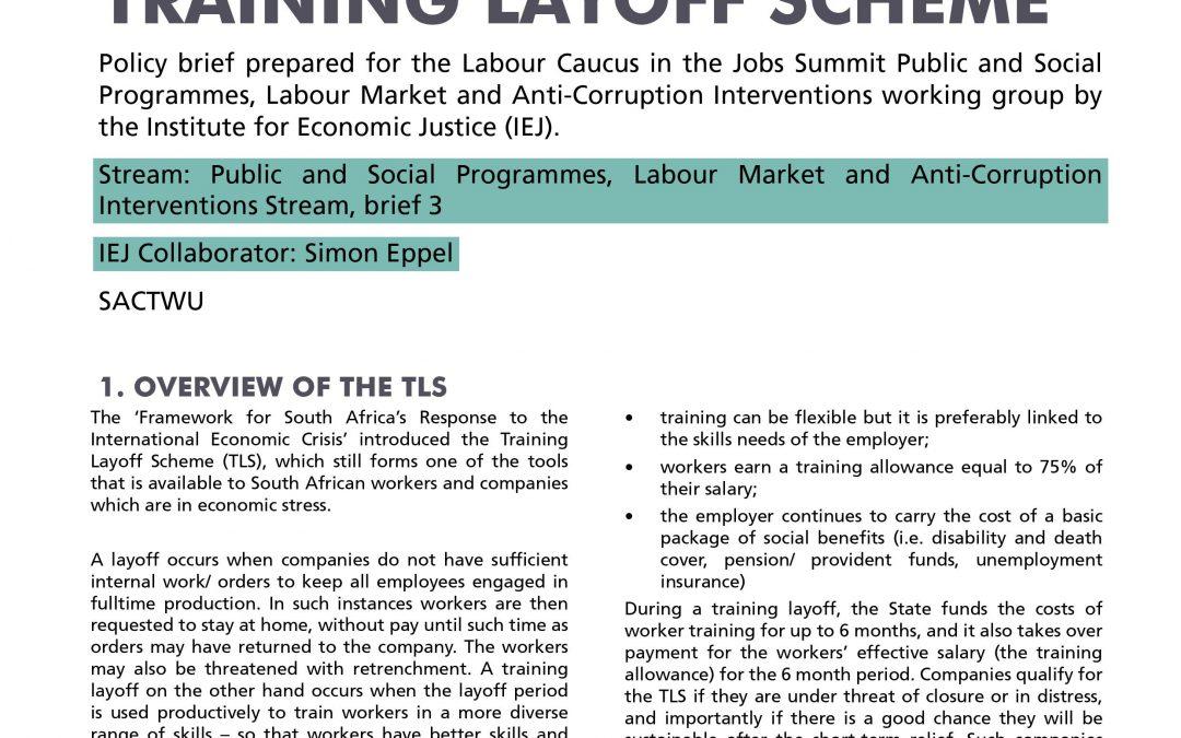 Stream 4 Policy Brief 3: Training Layoff Scheme