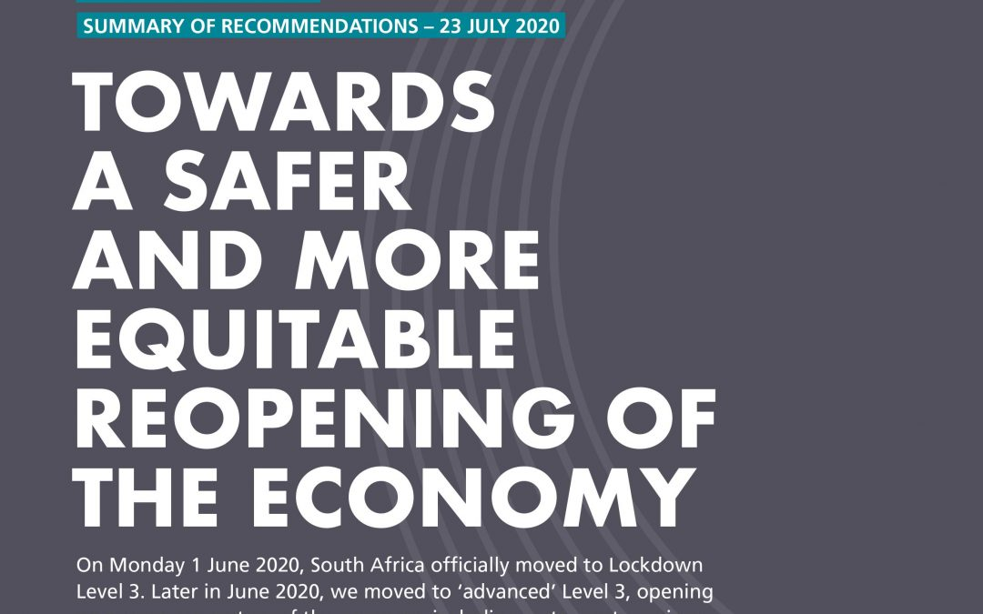 Summary of Recommendations for a Safer Reopening of the Economy.