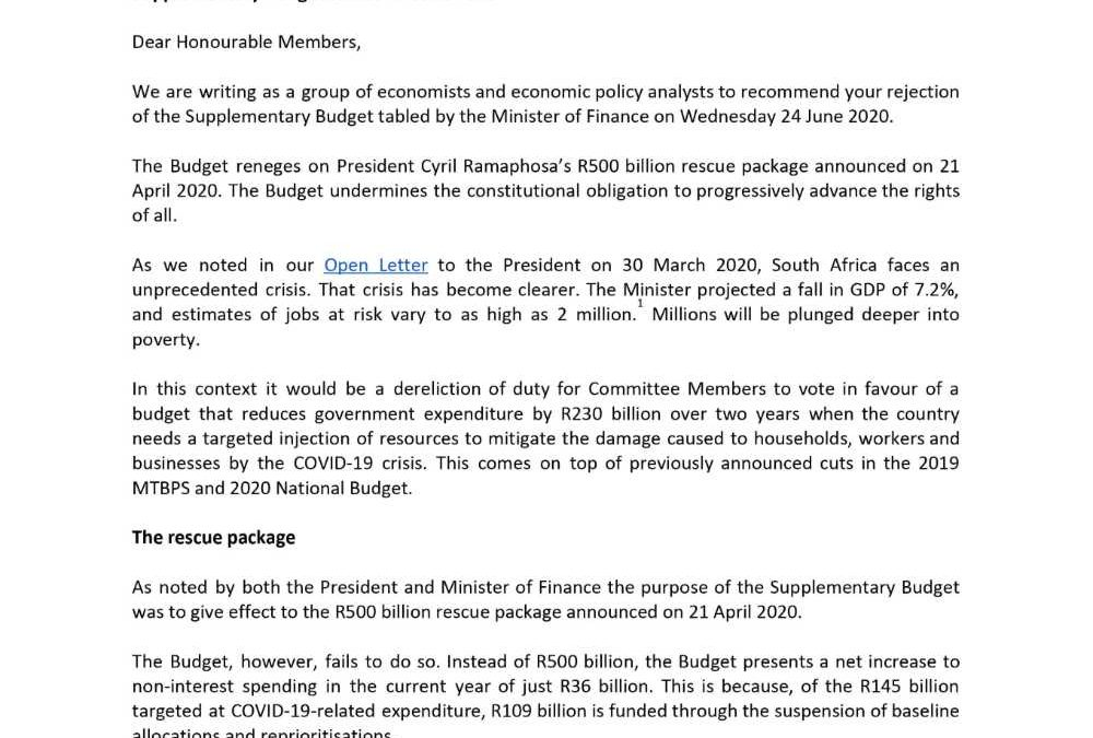 120 Economists and Researchers Say The Supplementary Budget Reneges on the President's COVID-19 Rescue Package