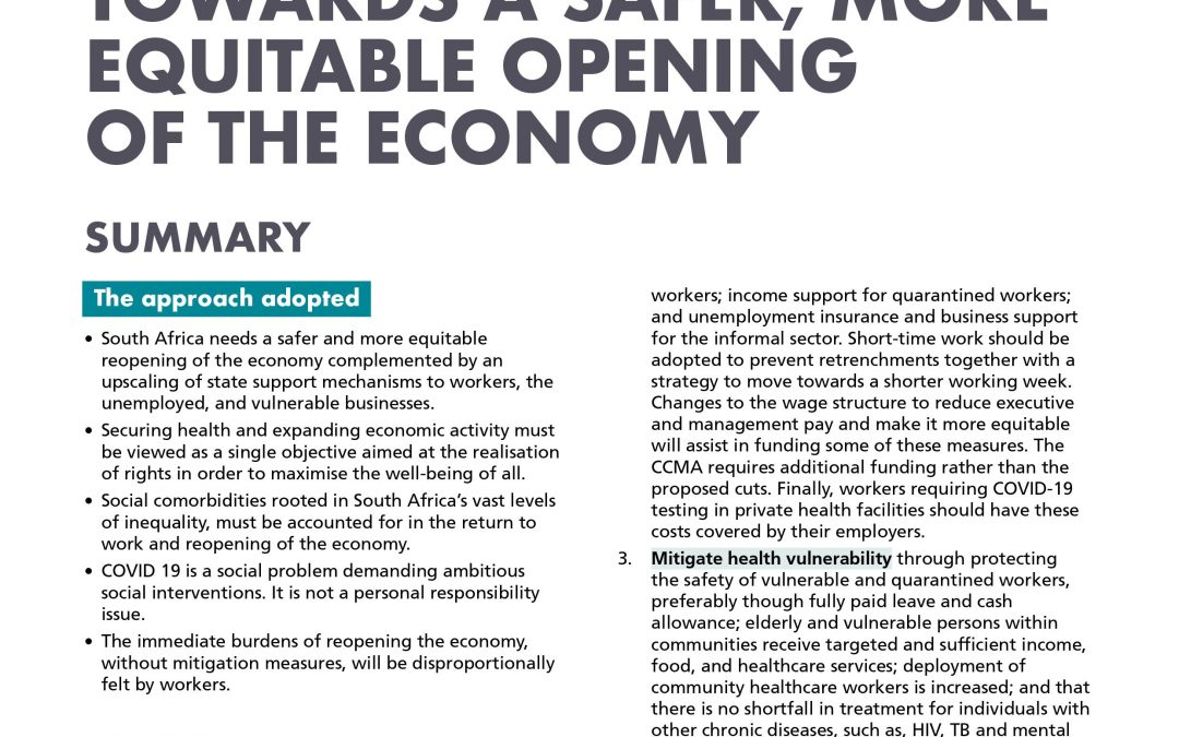 Towards a safer, more equitable opening of the economy