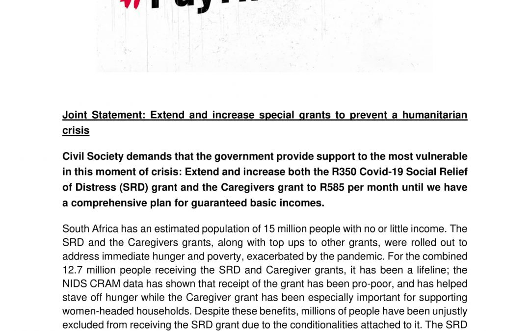 Joint Statement: Extend and increase special grants to prevent a humanitarian crisis