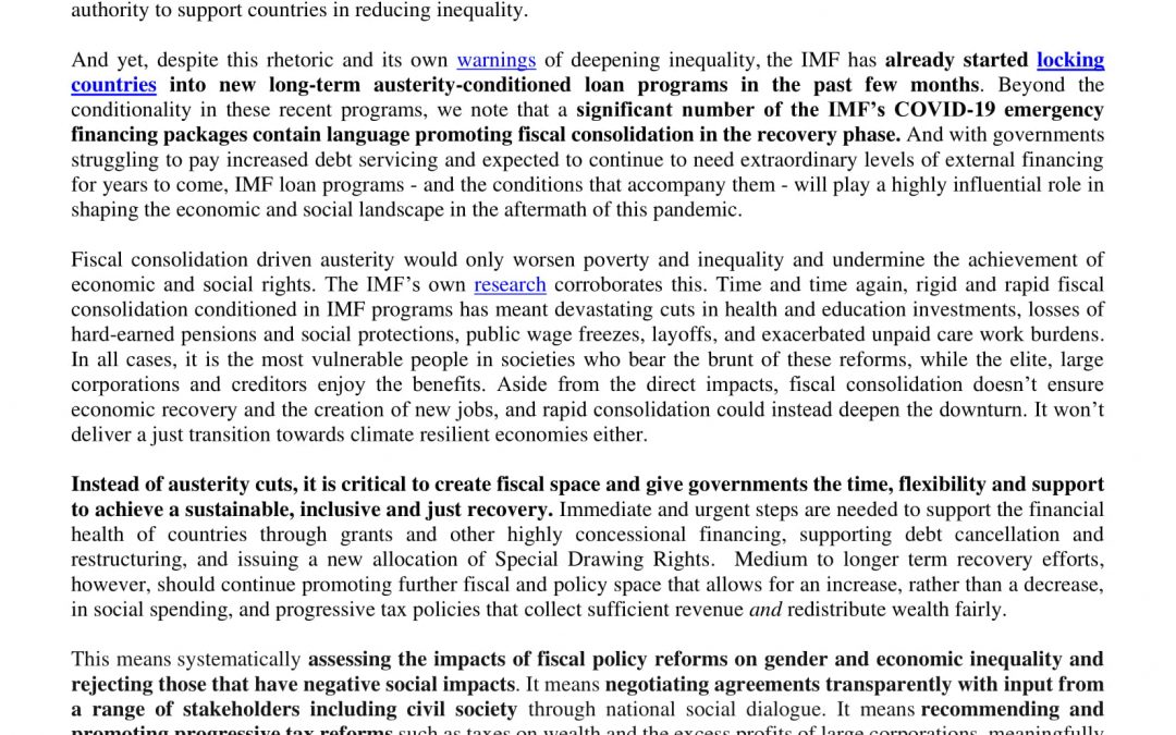 Statement against IMF austerity