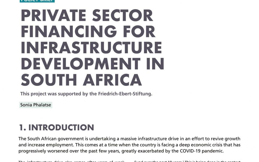 Private Sector Finance for Infrastructure Development in South Africa